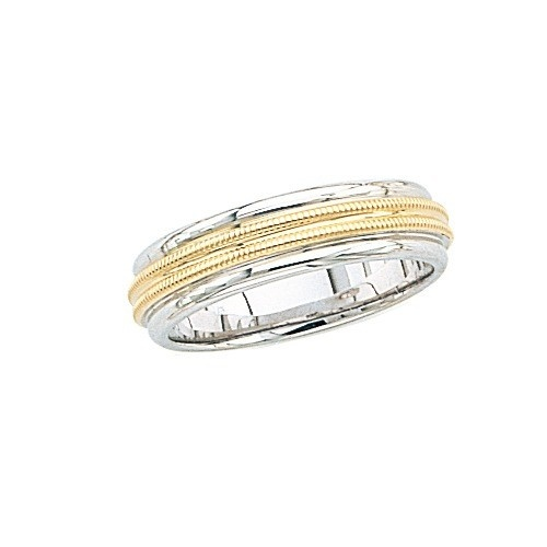 14K 2-Tone Gold Wedding Band W/ Double Milgrain 6 Mm