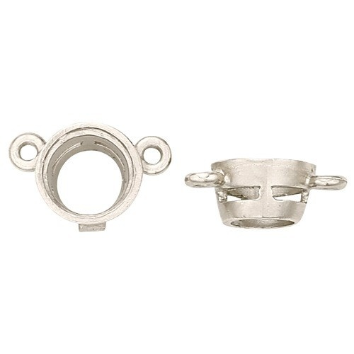 14K White Round Tapered Bezel W/ Airline & 2 Angled Rings