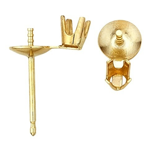 14K Yellow Pearl Earring W/ Diamond Accent