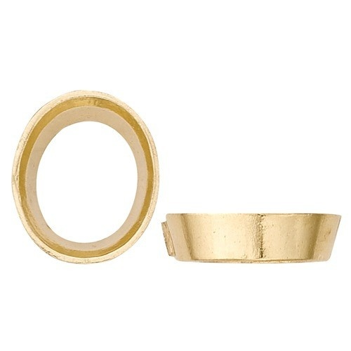14K Yellow Oval Tapered Bezel