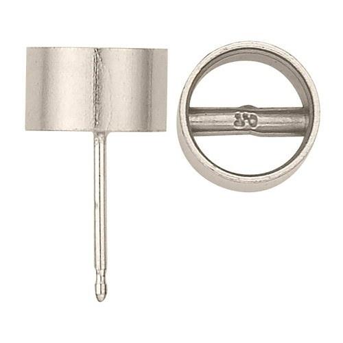 14K White Round Bezel Earring