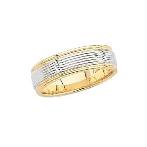 14K 2-Tone Gold Wedding Band 6.5 Mm