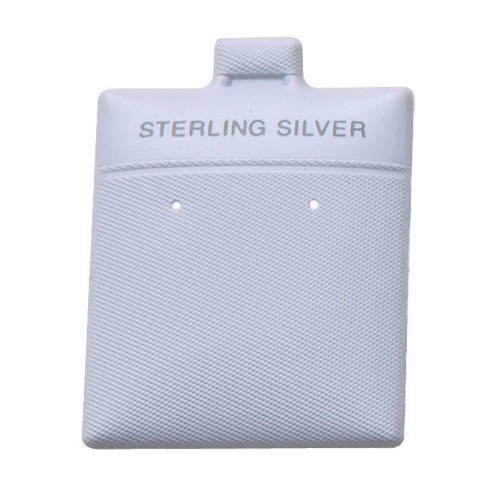 """Flocked White 'sterling Silver' Puffed Display Cards For Stud Earrings (pk/200), 1.75"""" L X 1.5"""" W"""