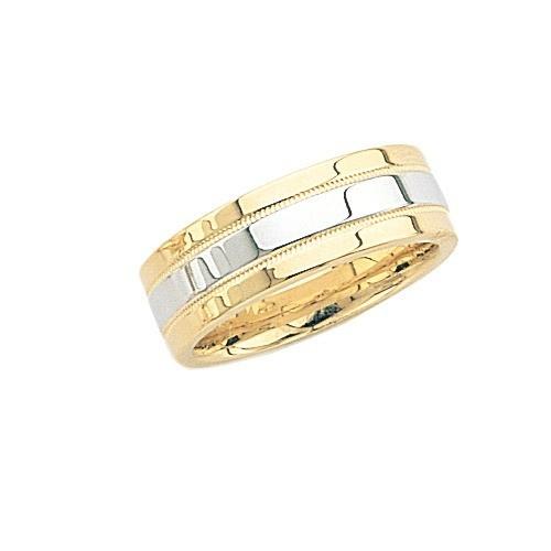 14K Gold 2-Tone Wedding Band W/ Milgrain Center 7 Mm