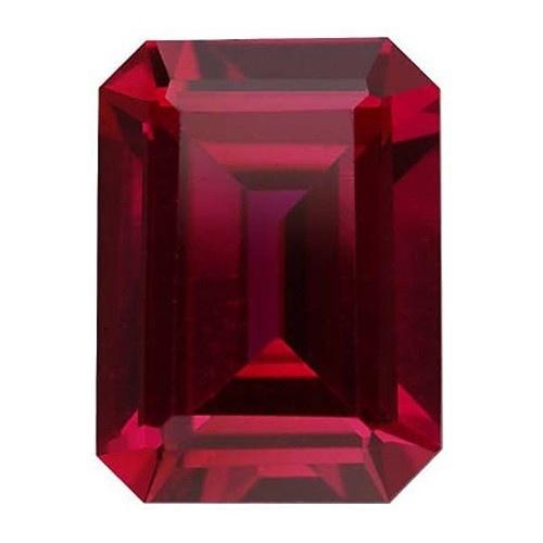 Emerald Cut Synthetic Ruby