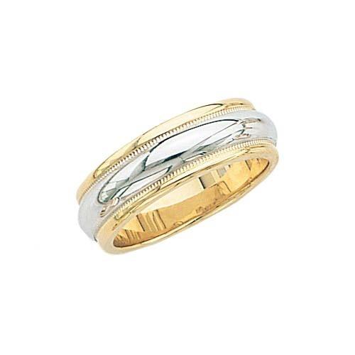 14K Gold 2-Tone Wedding Band W/ Milgrain 7 Mm