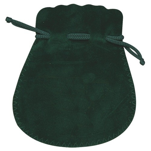 Microsuede Pouches W/Exposed Drawstring In Forest Green
