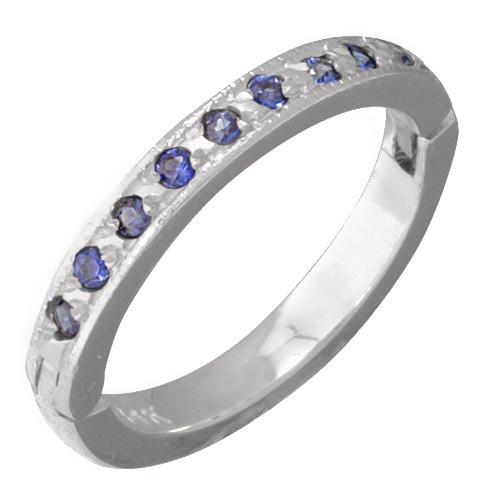 14K White Gold Blue Sapphire Toe Ring