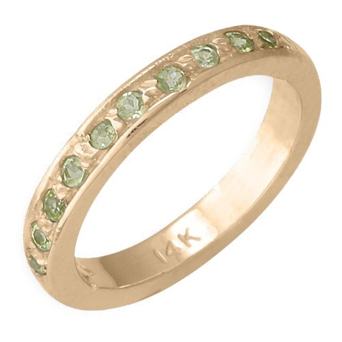 14K Yellow Gold Peridot Toe Ring