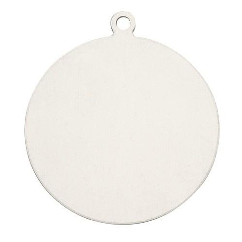 14K White Gold Round Disk
