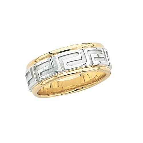 14K Gold 2-Tone Wedding Band W/ Maze Design 8 Mm