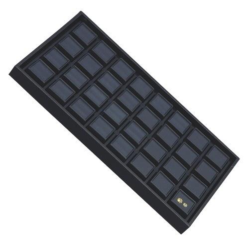 """32 Glass-Top 1 X 1"""" Gem Jars Inserts In Wood Trays, 14.75"""" L X 8.25"""" w"""
