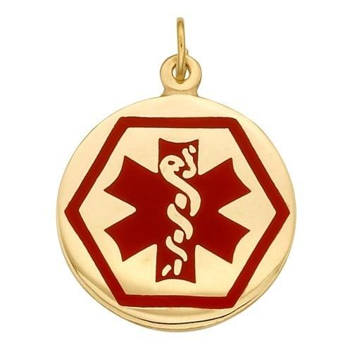 14K Yellow Medic Aid Medallion, 18.5 Mm