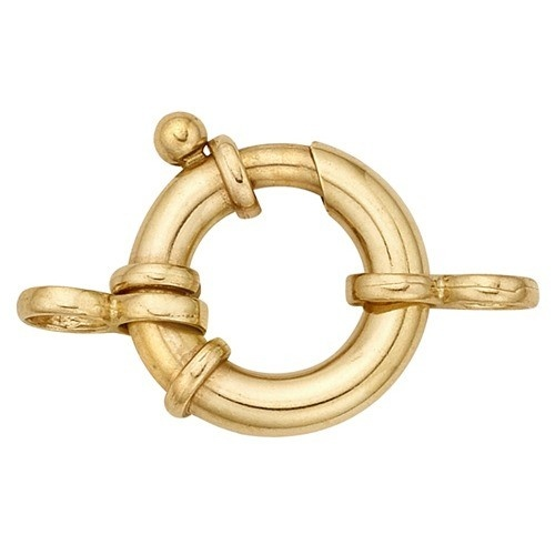 14K Yellow Gold Heavy Spring Ring W/2-Rings