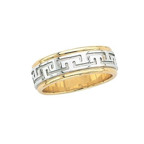 14K Gold 2-Tone Wedding Band W/ Maze Design 7 Mm