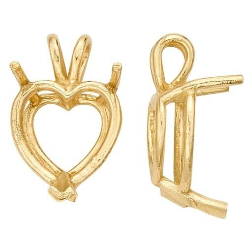 14K Yellow Heart Shape Double Wire Pendant