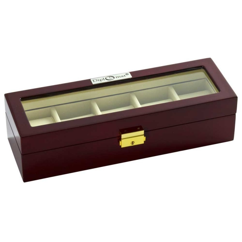 """Diplomat """"Estate"""" 5-Watch Glass-Top Cases In Mahogany"""