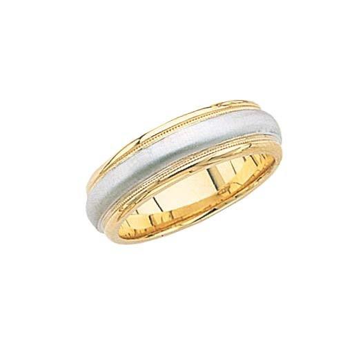 14K White Gold Wedding Band W/ Brushed Center & Milgrain 7 Mm