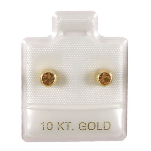 """White '10K Gold' Puffed Display Cards For Stud Earrings (Pk/100), 1"""" L X 1"""" w"""