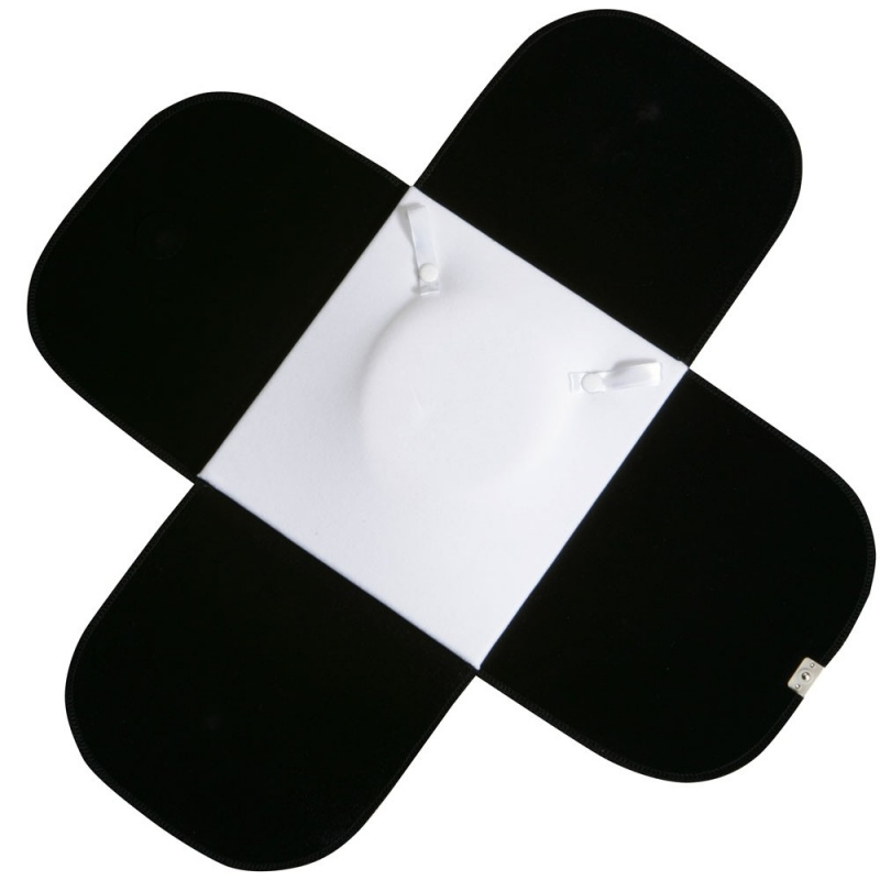 Travel Folders For Necklaces In Black Velvet W/White Interiors & Silver Trim, 7 X 7.5 In