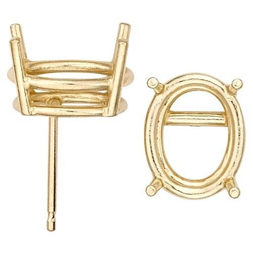 14K Yellow Oval Double Wire Earring