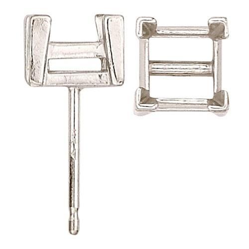 14K White Square Friction-Back Earring W/ V-Prong