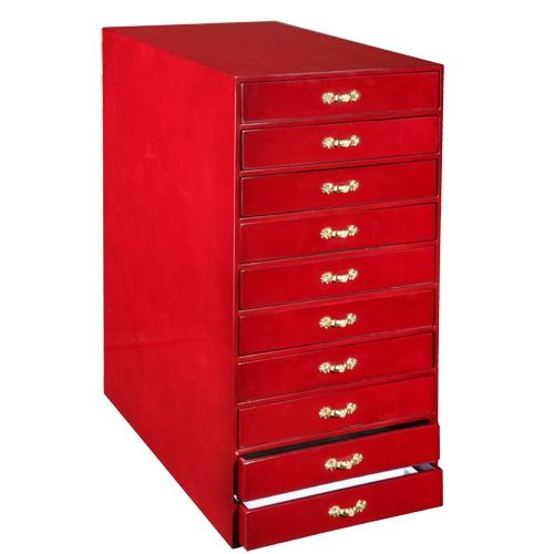 """10-drawer Tray Cabinets In Cherry, 15"""" L X 8.5"""" W"""