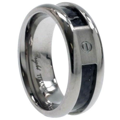 Titanium Ring W/ Carbon Fiber