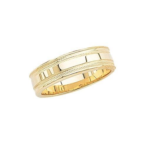 14K Yellow Gold Wedding Band W Shiny Center & Milgrain Sides 6 Mm