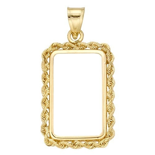 14K Yellow 4-Prong Bezel W/ Bail & Rope For Credit Swiss
