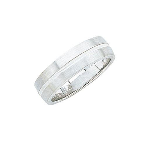 14K White Wedding Band W Center Milgrain 7 Mm