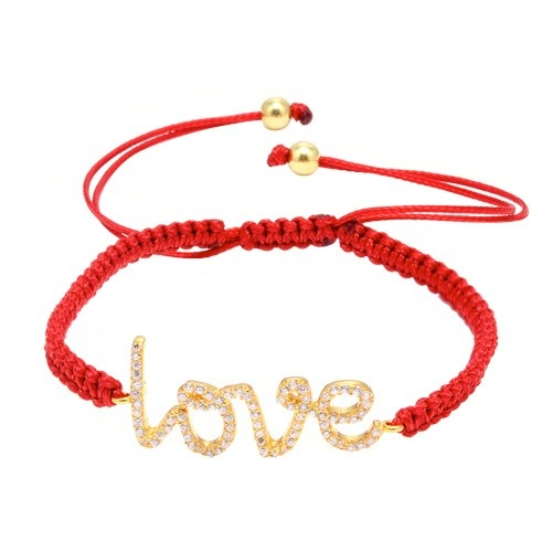 """Gold Plated Silver """"Love"""" And Cubic Zirconia Macrame Bracelet"""