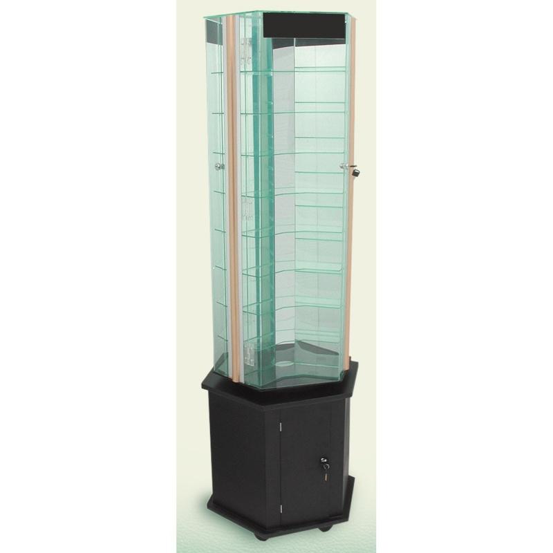 "9-Level Rotating Glass Showcases W/Locking Door, 70"" h"