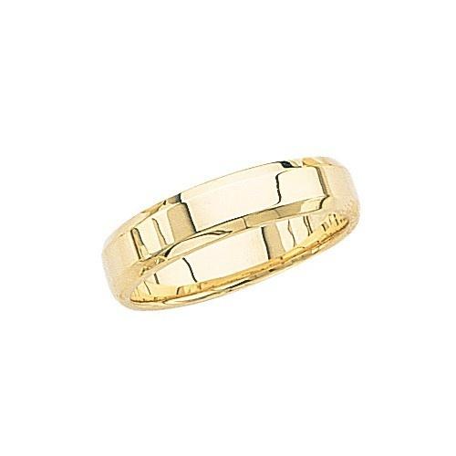 14K Yellow Gold Wedding Band W/ Beveled Edges 5 Mm