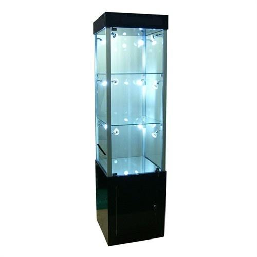 "3-Level Glass Tower Displays W/12 Leds, 17"" L X 19"" w"