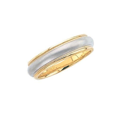 14K 2-Tone Gold Wedding Brushed Finish Center Milgrain Edge 6 Mm