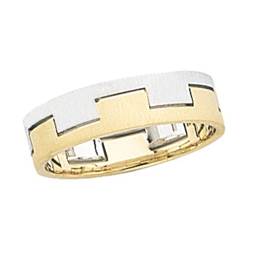 14K Gold 2-Tone Wedding Band W/ Brushed Airline 6 Mm