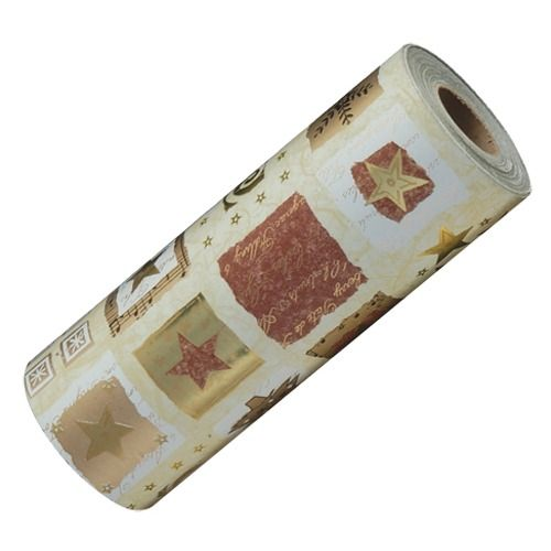 """Red & Gold Winter-themed Wrapping Paper, 100' L X 7.5"""" W"""