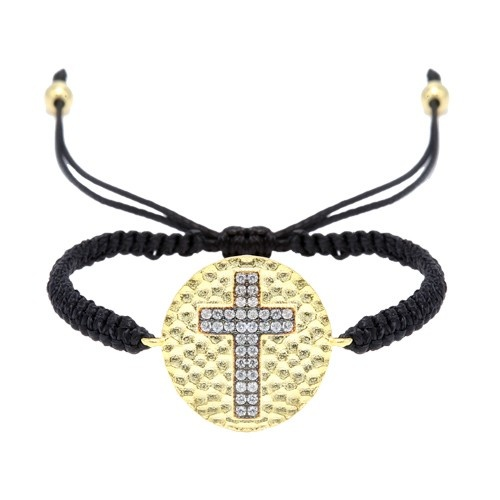 Gold Plated Silver Disk With Hammer Finish And Cubic Zirconia 2 Row Cross