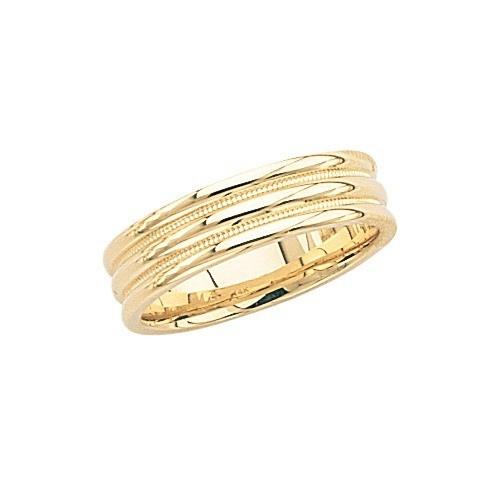 14K Yellow Gold Triple Hump Wedding Band W/ Milgrain 6 Mm