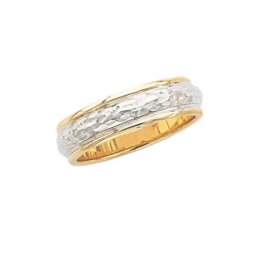 14K 2-Tone Gold Wedding Band Hammer Finish Center Milgrain Edge 6 Mm
