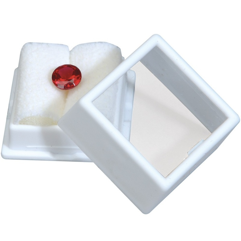 Glass-Top Gem Boxes W/Rolled-Foam Inserts In Black Or White