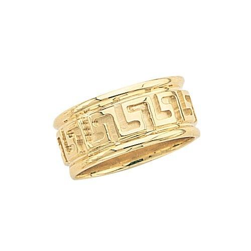 14K Yellow Gold Wedding Band W/ Maze Design 9.5 Mm