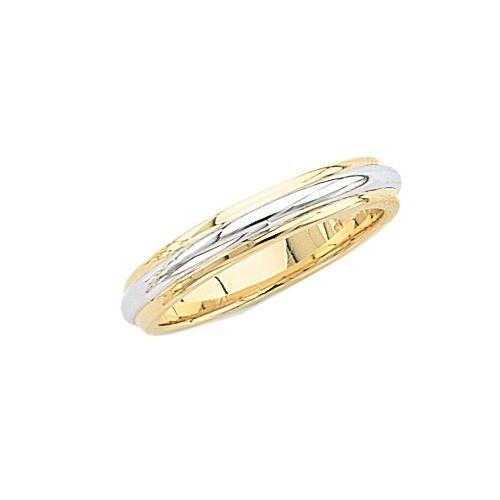 14K Gold 2-Tone Wedding Band 4 Mm