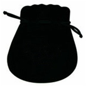 Microsuede Pouches W/Exposed Drawstring In Black