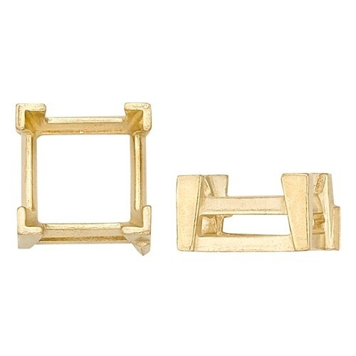 14K Yellow Square Setting W/ V-Prong & Airline