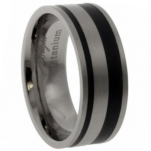 Titanium Ring Matte Finish & Ip Black Design