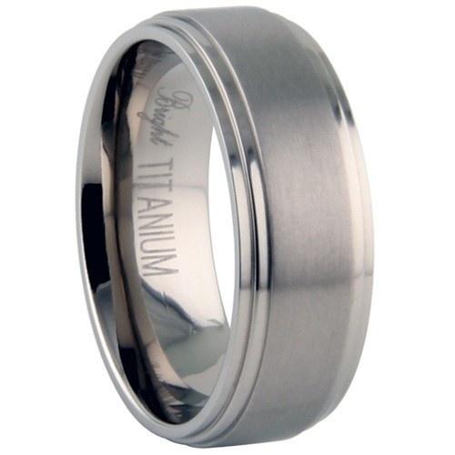 Titanium Ring W/ Brushed Center Finish