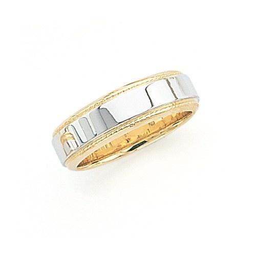 14K Gold 2-Tone Wedding Band W/ Milgrain Edges 6 Mm