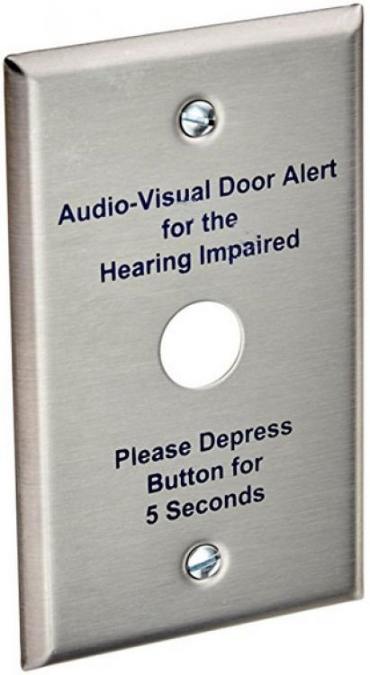"""1 Gang Stst Plate-for Handicap. Used With 45a Or Equivalent 5/8"""" Diameter Pushbutton."""